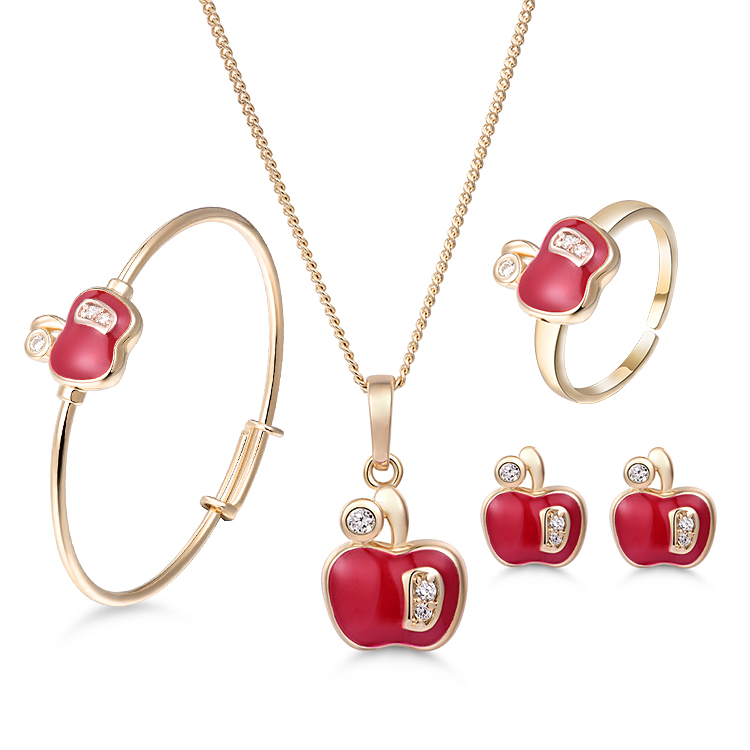 New Brand Red Apple Girls Baby Jewelry Set Gold-Color Pendant Necklace Bangle Ear Ring E ...