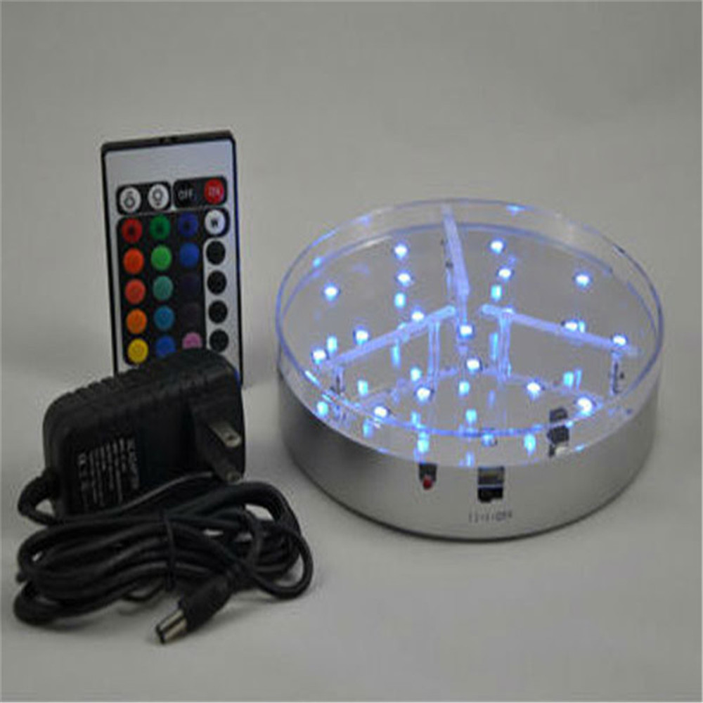 100 pieces lot remote led centerpiece light base wedding for Decoration stand