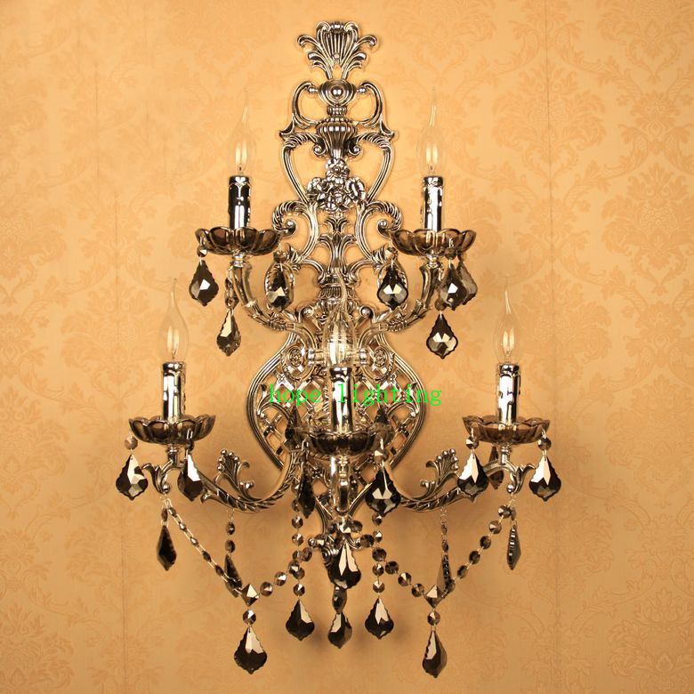 antique silver wall sconce retro Classic Wall Lamp crystal large ...