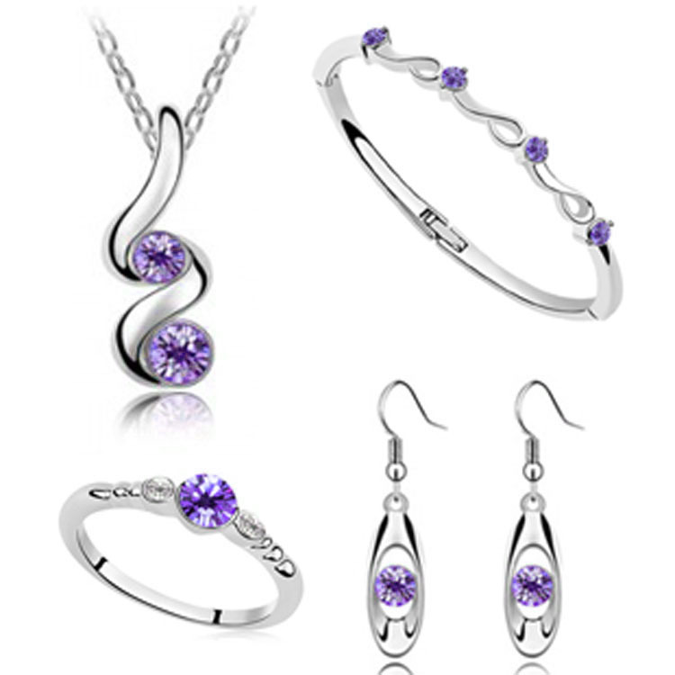 Wedding Jewelry Sets Silver Plated Pendant Necklaces Earring Rings ...