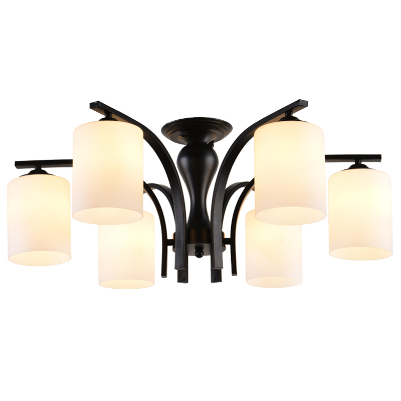 Modern Iron Glass Flush Mount Light Living Room Decoration 6 Lights Nordic Simple Ceiling Lamps Indoor Home Lighting E27 CL231-6