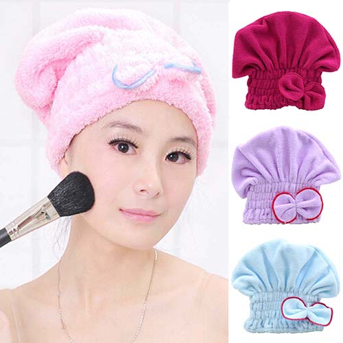 New arrival Women's Hair Drying Hat Spa Towel Turban Cap Cute Bowknot Soft Coral Velvet Micro-fiber