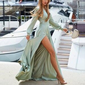 Женское длинное сатиновое платье Ordifree, длинное шелковое платье до пола с длинным рукавом, лето-осень 2019