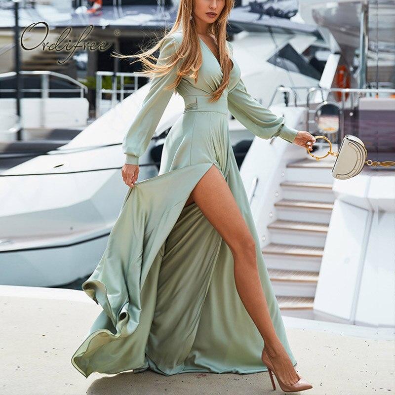 Ordifree 2019 Summer Autumn Boho Women Long Satin Dress Long Sleeve Elegant Lady Floor Length Silk Maxi Dress