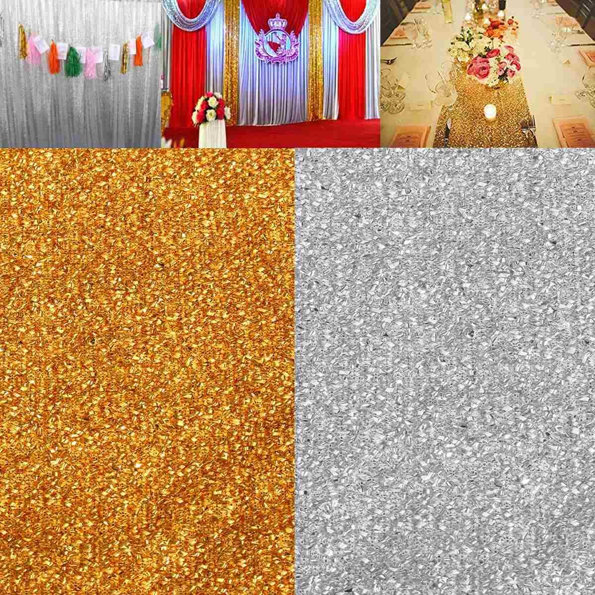 Paillettes scintillantes paillettes tissu rideau gaze 600X300 cm mariage fête d'anniversaire événements bricolage décoration photographie décors