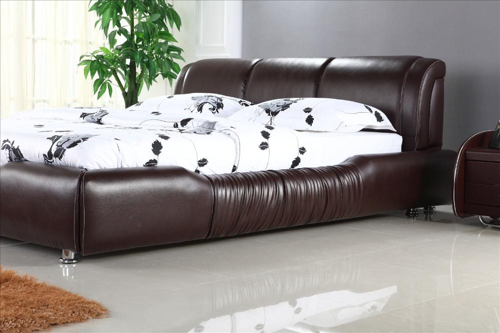 ... Soft Headrest Genuine Leather Bed, Brown Color Classic Design Bedroom Furniture  European And USA Style ...
