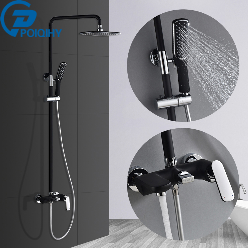 POIQIHY Black Shower Faucets Wall Mounted Rainfall Shower Head With Shower Head Mixer Tap Faucets