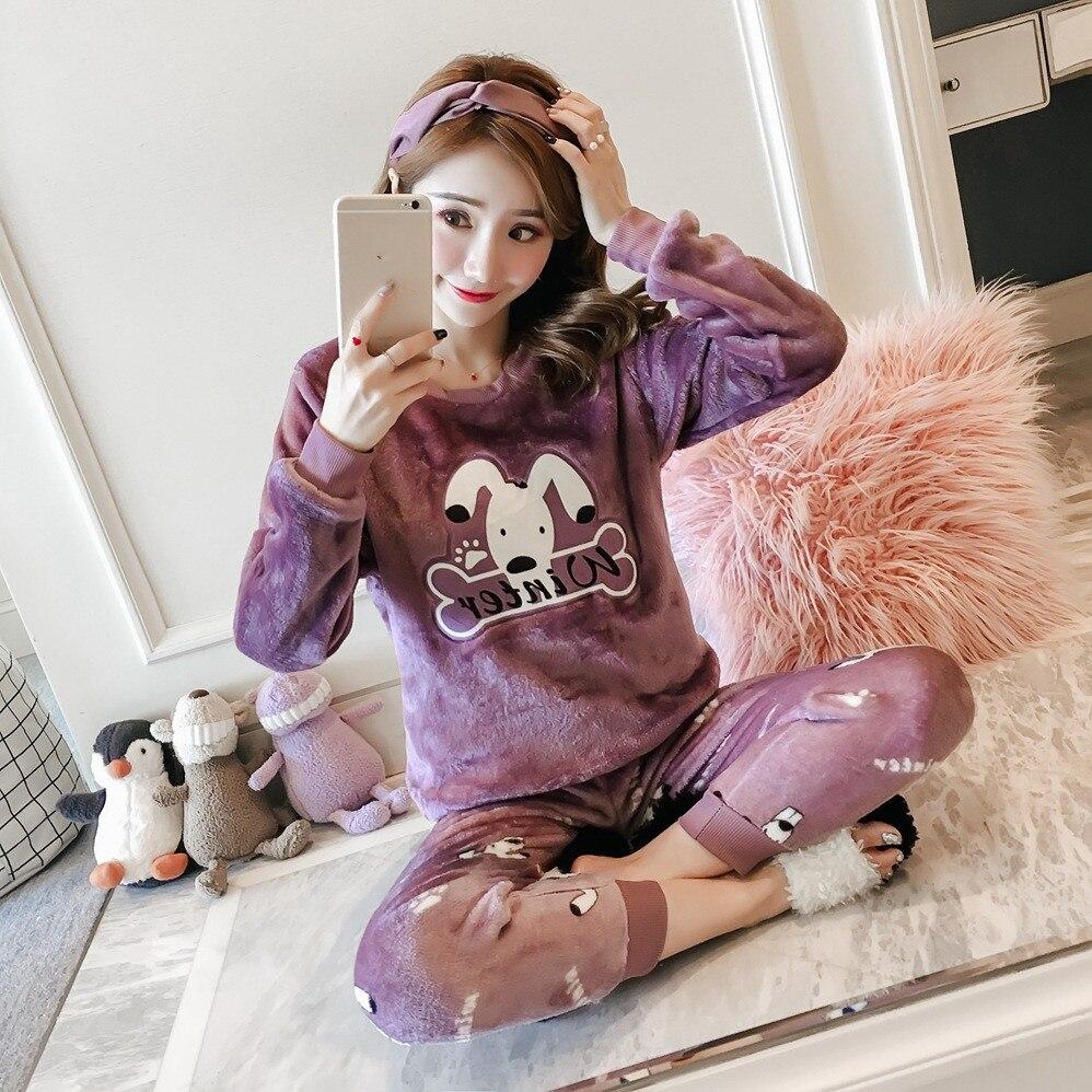 women winter pyjamas Coral Velvet Pyjamas Suit Nightgown Female Printed Flannel Sleepwear 2018 Autumn Winter Women   Pajama     Sets