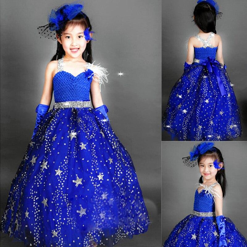 Royal Sunny robe de princesse fleur filles robes pour mariage enfant en bas âge robe de première Communion robe de reconstitution historique robe de bal bleue A36