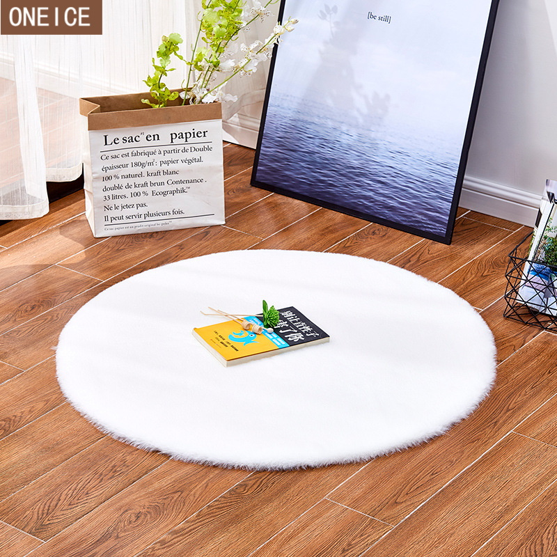 Plush carpet living room soft fluffy carpet simulation rabbit fur bedroom sofa coffee table mat cloakroom carpetMachine washable|Rug| |  - title=