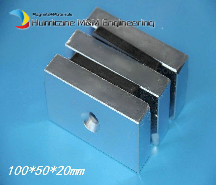 NdFeB Lifting Magnet 100x50x20 mm about 4 with Screw Countersunk Hole Block N52 Strong Neodymium Rare Earth Magnet 2pcs bulk strong ndfeb countersunk block magnets 40mm x 40mm x 20mm with single hole n35 neodymium square cuboid magnet