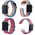 New Arrival Colorful Striped Woven Nylon Replacement Wrist Watch Band Strap for Apple Watch iWatch 42mm 38mm + Adapters