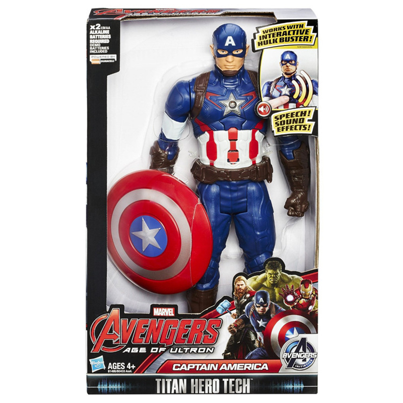 25cm Captain America Figure Spoken English and Shooting Disney Toys Action Anime Action Dolls for Avengers Figure Toys Kids Gift image