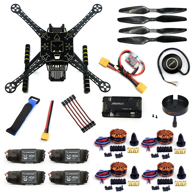 DIY RC FPV Drone S600 4-Axle Frame Kit with APM 2.8 Flight Control 40A ESC 700KV Motor GPS XT60 Plug Quadcopter fpv mini apm pro flight control with ulbox neo 7n gps