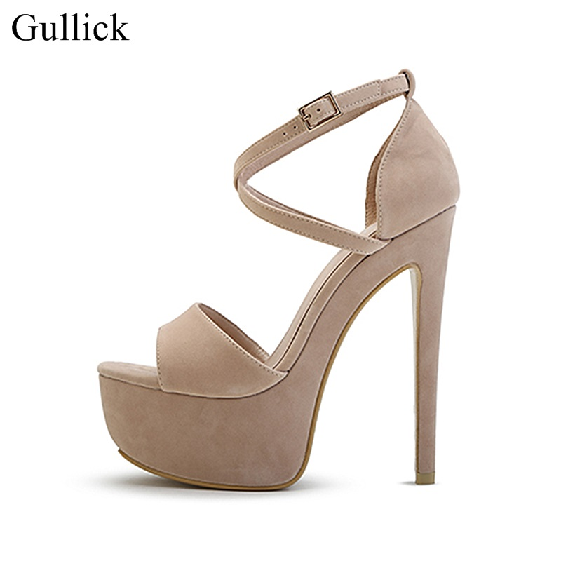 Sexy 16CM Chunky Heels Sandals Peep Toe Cross Strap High Platform Suede Dress Shoes Cut-out Women Party Dress Shoes pink palms women summer supper high heels shoes high platform sandals peep toe hollow out metal ring party punk sexy sandals
