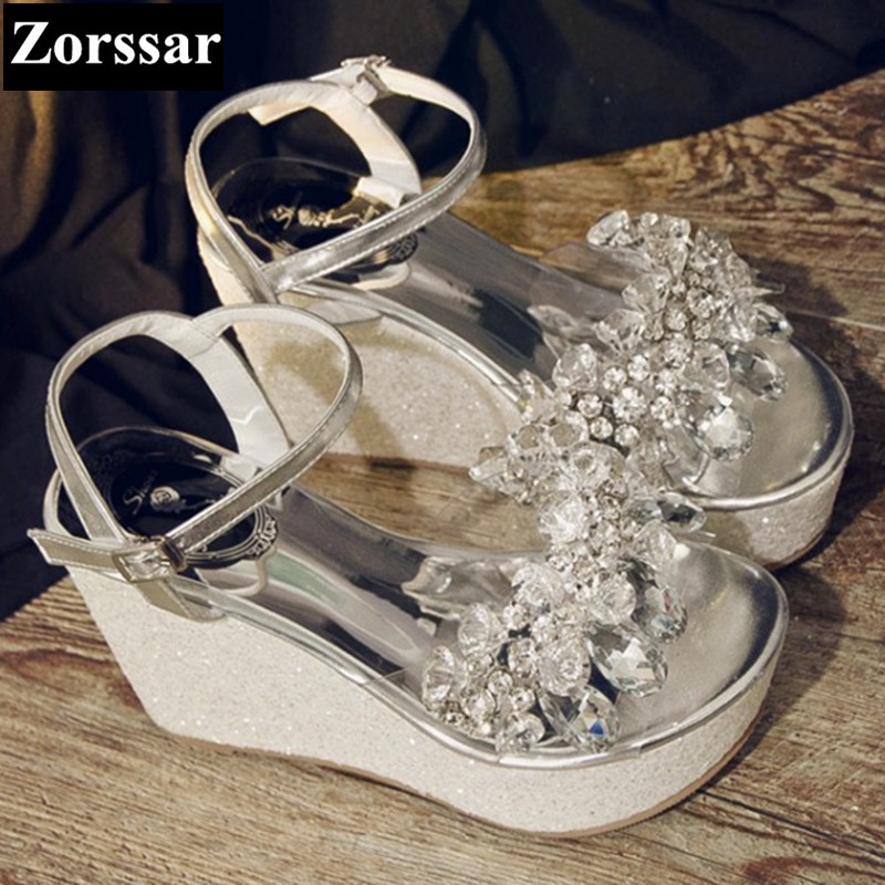 Summer shoes Women Casual Platform rhinestone High heels wedges sandals woman 2017 Fashion Genuine leather womens peep toe pumps woman fashion high heels sandals women genuine leather buckle summer shoes brand new wedges casual platform sandal gold silver