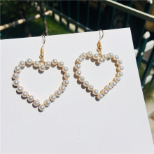 Retro Geometric Heart Love Sweet Pearl Rhinestone Dangle Earrings Female