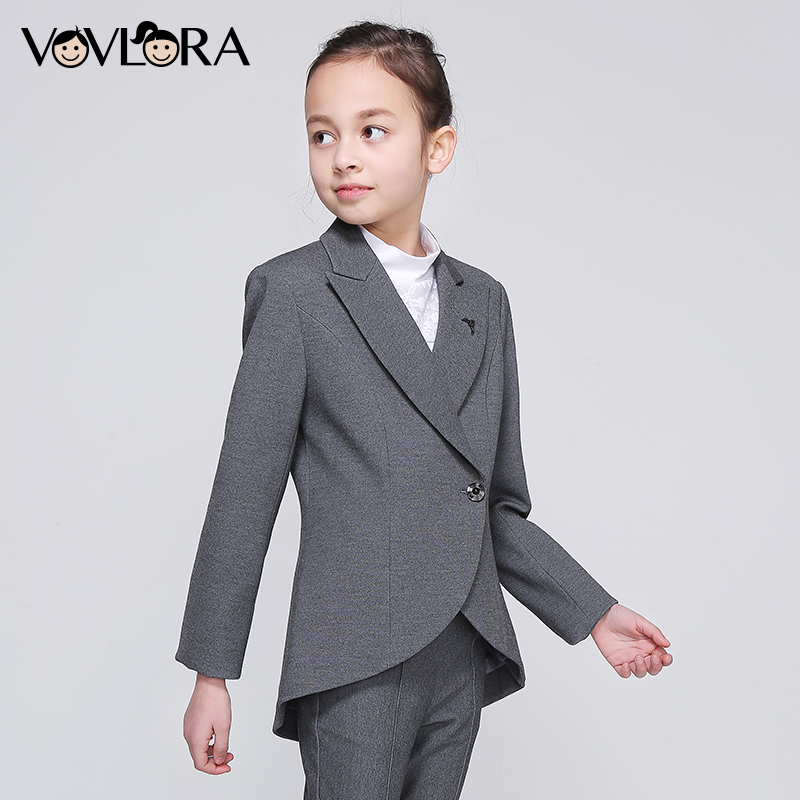 Girls School Blazer V Neck Formal Double Breasted kids Jacket Long Sleeve Slim Solid Suit Summer 2018 Size 9 10 11 12 13 14 Year