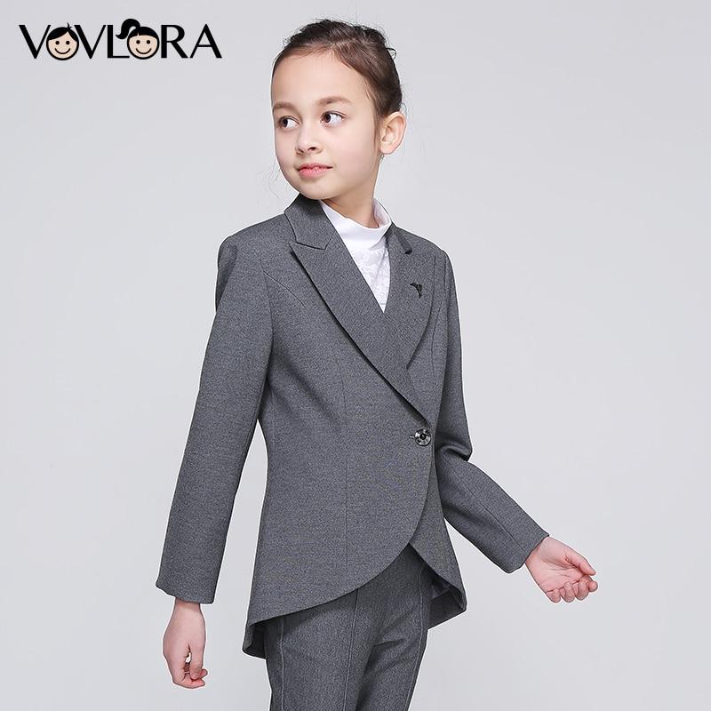 Girls School Blazer V Neck Formal Double Breasted kids Jacket Long Sleeve Slim Solid Suit Summer 2018 Size 9 10 11 12 13 14 Year
