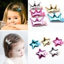 Милый стиль принцессы, Детская Корона, звезда, Глянцевая текстура, головной убор, заколки для волос, детские заколки для волос, аксессуары для волос для девочек