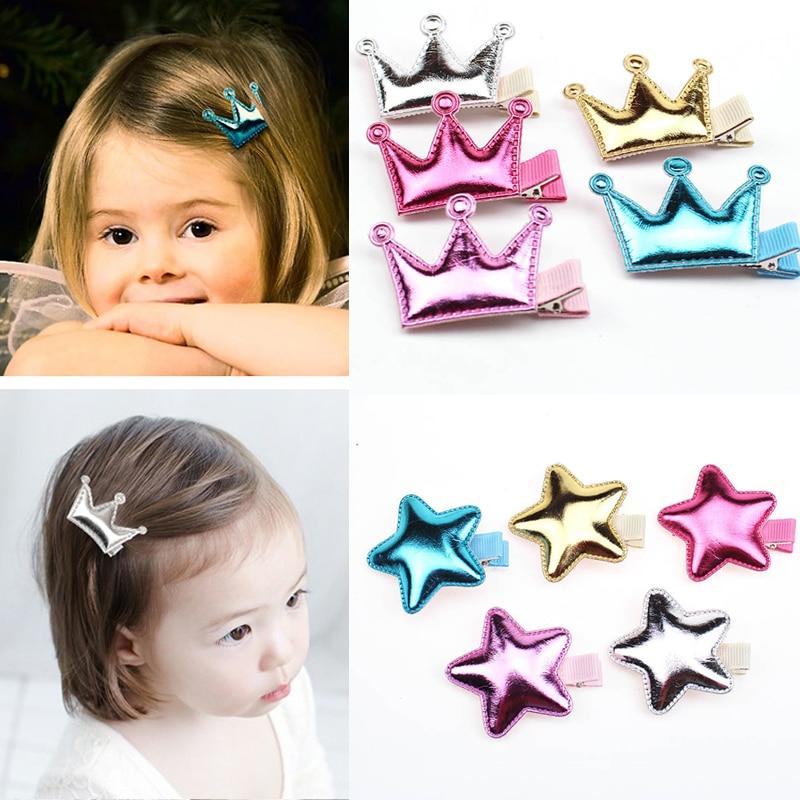 Cute Princess Style Children Crown Star Glossy Texture Headdress Hairgrips Baby Hair Pin Side Clip Girls Hair Accessorie