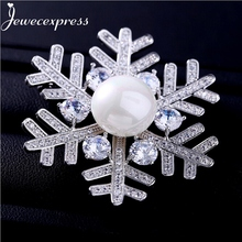 Jewecexpress  Popular clear zircon snow flower Brooches Women jewelry Party wedding Christmas gift