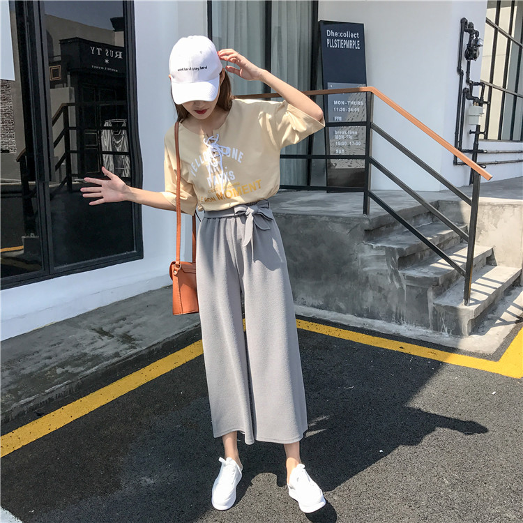 19 Women Casual Loose Wide Leg Pant Womens Elegant Fashion Preppy Style Trousers Female Pure Color Females New Palazzo Pants 41