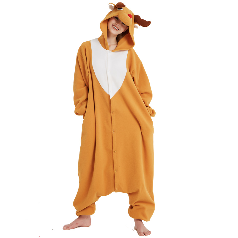 Funny Christmas Elk Kigurumi Onesie Animal Deer Jumpsuit Sleepwear Adult Pajamas Polar Fleece For Halloween Pyjamas Home Party (5)