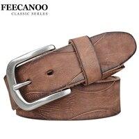 FEECANOO Men Belt Luxury 100 Genuine Leather High Quality Cowhide Belts Fashion Business Pin Buckle