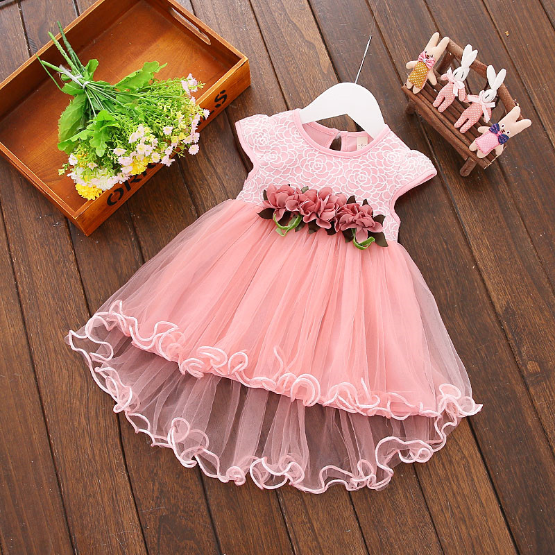 Kids Clothes Floral Girls Dress Summer 2017 Toddler Girl Clothing Princess Dress Baby Girl Party Dress for Girls 0-3Year melario girls dress 2018 summer children clothes splicing lace dress hat girls floral kids princess dress for 2 6 years girl