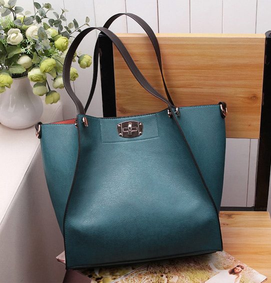 da3bd5907c95 2015 Vintage Women Leather Shoulder Bags Solid Black Blue PU Big Capacity  Individual Zipper Pocket Tote Composite Bag Hot Trend