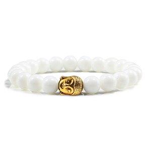 Image 4 - Black Volcanic Lava Stone Buddha Head Elastic Bracelet Male Female Charm Prayer Matte White Beads Bracelets Bangles Jewellery