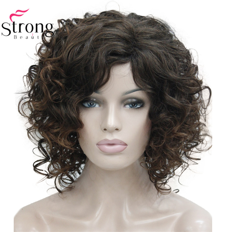 StrongBeauty Short Thick Dark Brown With Highlights Super Curly Layered Full Synthetic Wig For Women