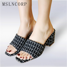 plus size 34-43 Fashion Peep Toe Chunky Heel Women Mules Female Casual Slides Sandals Thick High Heel Slippers Shoes Footwear rhinestone high heel sandals plus size 40 41 summer blue flower sexy leather diamond slippers female rome slides shoes women