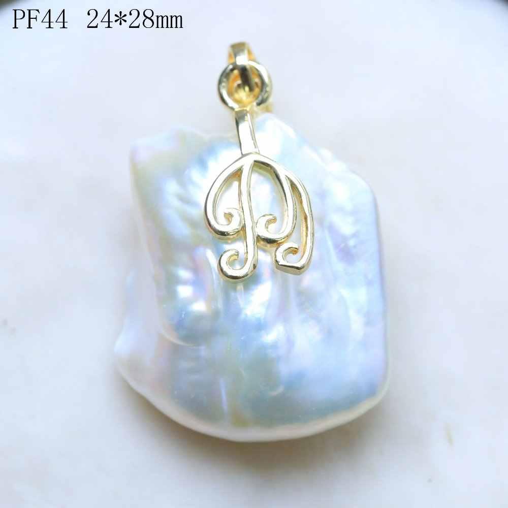 BaroqueOnly Riesige Größe Unregelmäßigen Weißen Perle Rutsche Anhänger Verschiedene Form Süßwasser Einzigartige Perlen PF