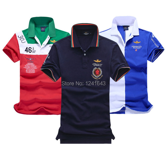 2016 new Style Fashion aeronautica militare Top Quality Men cotton camisa Polo Shirt,Embroidery Dress Casual Man brand-Clothing