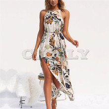 Summer Women Beach Floral Flower Long Sleeveless Sexy Halter Dress 2019 Party M #27