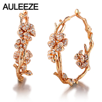 AULEEZE 100% Real 18K Solid Rose Gold Earrings 0.52cttw Natural Diamond Unique Flower Hoop Earrings For Women Jewelry