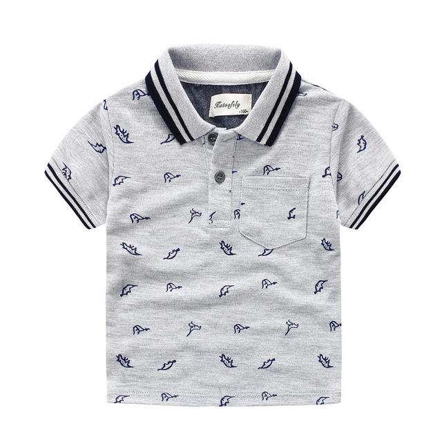 Camisetas de verão Para Meninos de Algodão Crianças Camisas de Manga Curta Dinossauro Roupas Pullover V Pescoço T-Shirt do Menino Crianças Vestuário de Moda