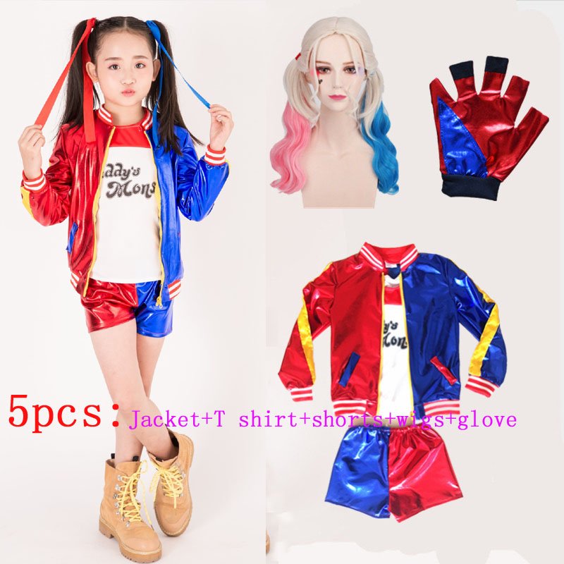 Kids Girls Suicide Squad Harley Quinn Cosplay Costumes Halloween Party Jacket Daddy's Lil Monster T Shirt Shorts Costumes Sets
