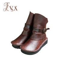 Tayunxing Handmade Genuine Leather Zipper Wedges Buckle Women Boots Ankle Low Heel Comfort Personality 7080 1