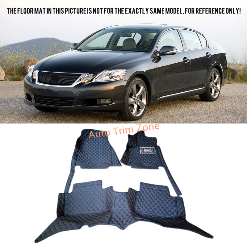 Black Interior Leather Floor Mats & Carpets Foot Pads Protector For Lexus GS 2005-2010 S190
