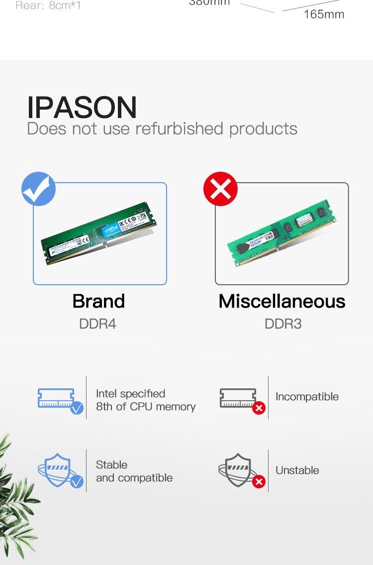 IPASON M3 Escritório Computador DesktopPC Gaming 8th