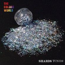 Mylar Shard TCT 073 holográfica resistente a solvente, 12 colores, purpurina para decoración de uñas, Gel de uñas, sombra de ojos, maquillaje, Manual