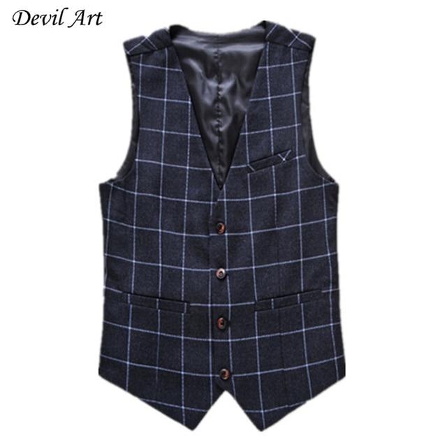 Mens Plaid Vest Fashion Business Brand Clothing Waistcoat Slim Wedding Formal Suit Vest Blue Waistcoats Size:5XL 6XL 519