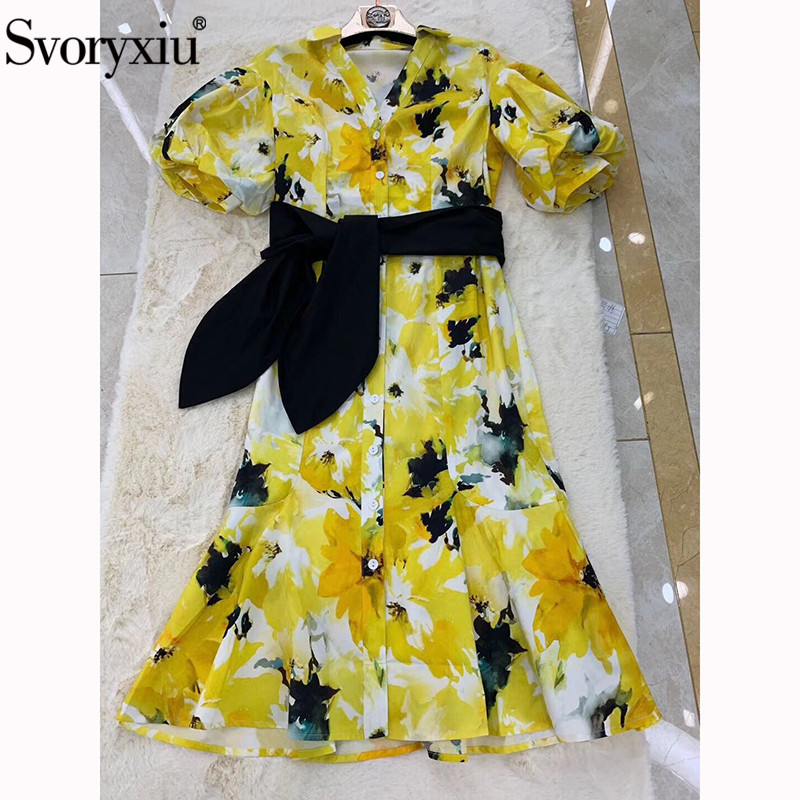 Svoryxiu Designer Summer Cotton Dress Women's Elegant Puff Sleeve Sexy V Neck Yellow Hand Painted Flower Print Party Dresses