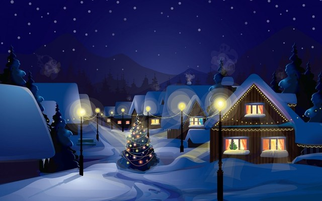 living room bedroom home wall decoration fabric poster christmas tree snow village light warm house