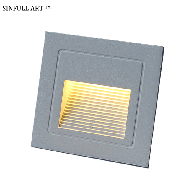 Genial SINFULL Led Stair Wall Light IP66 Outdoor Waterproof Step Lamps Recessed  Square Emergency Night Lights 3w