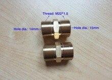 100% conector de manguera de arandela de coche de cobre rosca de dos extremos M22 * 1,5, orificio de un extremo dia.14MM, otro orificio de extremo dia.15mm
