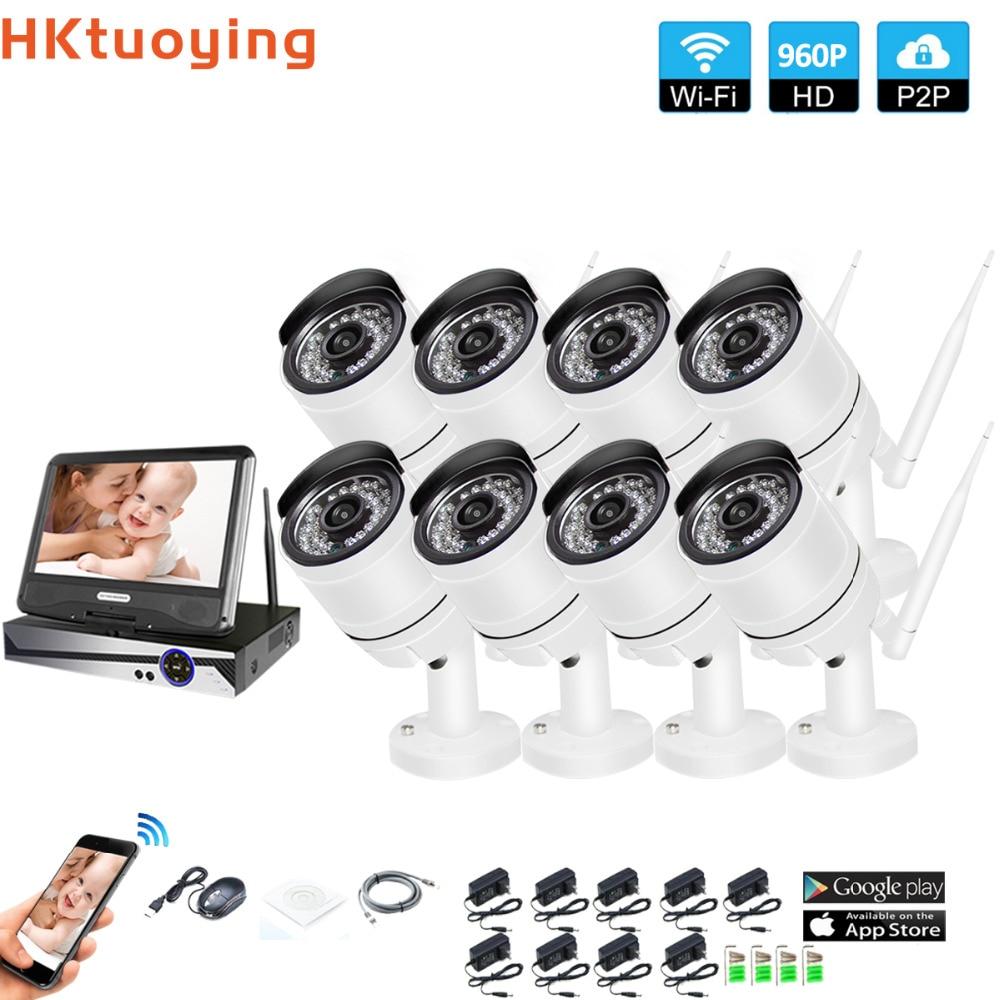 Système de Surveillance sans fil réseau 10.1 moniteur LCD NVR enregistreur Wifi Kit 8CH 960 P HD entrées vidéo 1.3MP caméra de sécurité